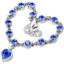 Hot Cute Women Blue Crystal Rhinestone Heart Charm Bangle Fashion Bracelet Gift