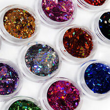 12 Colors Nail Art Acrylic 3D Rhombus Glitter Shape Sequins Powder Set Bluelans