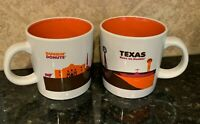 Dunkin Donuts Texas Mugs Set of 2 2012 Awesome Alamo Longhorn Dallas Houston