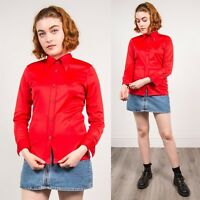 70'S SHIRT BLOUSE WOMENS RED MOD STYLE POINTY COLLAR VINTAGE RETRO CASUAL 8 10