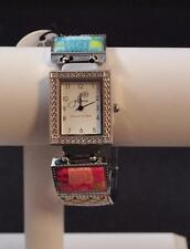 Jilzara Blossom Square Watch Polymer Clay Inlays Stretch Band Handmade Artisan