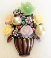 NEW Joan Rivers FLOWER BASKET BROOCH PIN Pearl Daisy Rose Rhinestone Copper Tone