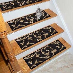 Ottohome Collection Black 9 in x 26 in Polypropylene Stair Tread Set (7) 8.5 in