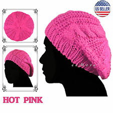 Knitted Beret Crochet Braided Hat Beanie Cap Women Winter HOT PINK US Stock
