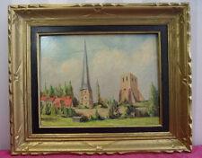 PEINTURE / BERGUES Tours de l'Abbaye de Saint Winoc  signée J.Lebecq 47x39