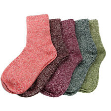 UK 5 Pairs Women Wool Cashmere Thick Socks Winter Warm Soft Solid Casual Sports