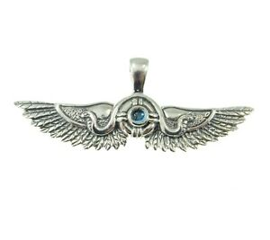 Handcrafted Solid 925 Sterling Silver Egyptian Wings Pendant w/ Choice Gemstone