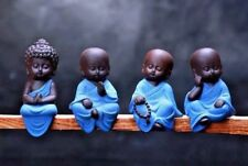 New 4Pc Cute Lucky Sitting Buddha Monk Home Decor Ornaments Mini Statue Set UK