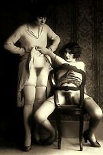 Vintage 1930's Two Women TAKING A PEEK Semi Nude Photo 4x6 Sepa Reprint