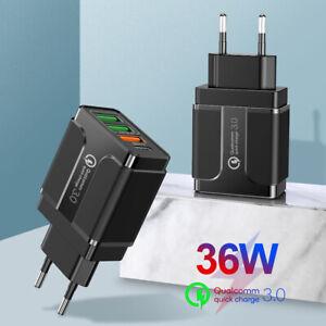 US/EU Plug 60W 3 USB Ports Type C PD QC 3.0 Wall Charger Laptop Phone Adapter