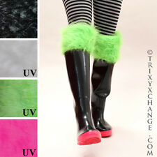 Green Fur Rain Boot Socks Rubber Liners Wellies Fleece Cuffs Polar Vortex 1279