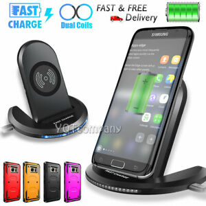For Samsung Galaxy S7 / S7 Edge Qi Fast Wireless Charger Charging Pad Stand+Case