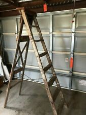 VINTAGE WOODEN LADDER 8-step, very sturdy, loads of character, pickup.   C104/5