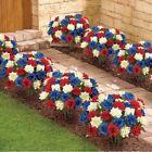 USA AMERICANA PATRIOTIC SET OF 3 FLOWER BUSHES - OUTDOOR GARDEN YARD DECOR