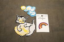 1970's Sew On Patches   Baby Elephant , Rainbow & Kitten  True Vintage !