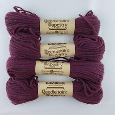 Lot (4) Skeins Brunswick Needlepoint Tapestry Wool Yarn – Cranberry #1757, vtg