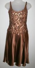 Carmen Marc Valvo Collection Sz 4 Copper Sequin 100% Silk Flare Sleeveless Dress