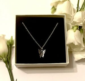Sterling Silver Butterfly Necklace, Personalised Birthday Bridesmaids Gift Box