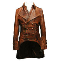 Gothic leather trench coat-steampunk jacket-matrix coat men