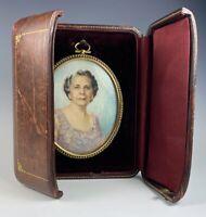 Antique Signed LG Portrait Miniature, Elegant Woman, Pearl Mounted Frame, Case