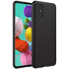 Schutz Hülle Samsung Galaxy A51 Case Silikon Handy Hülle Slim Cover Matt Schwarz