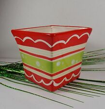 Square Ceramic Planter Flower Pot Red/Green Stripe Holiday Decor