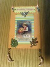 Handmade Halloween collage art card door or wall hanger with charms