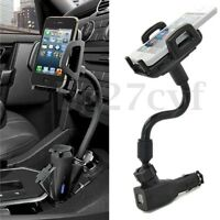 Dual 2 USB Car Cigarette Lighter Mount Holder Stand Charger for Phone GPS MP3/4