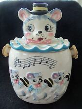 Vintage Dancing Bears Teddy Bear Head Lid Jar!  COOKIE BISCUIT JAPAN HANDLE!
