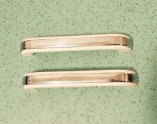 "Lot Of 2 NOS Plastic White and Chrome Handle Pulls 6.5"" Long"