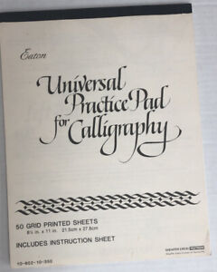 Vintage Eaton CALLIGRAPHY PRACTICE PAD 50 Grid Printed Sheets Scheaffer Textron