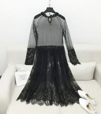 2018 Korean Lace Dress Wedding Spring Long Sleeve Ride Perspective Stand Collar