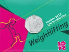 London 2012 Royal Mint Olympic WEIGHTLIFTING 50p coin new ON CARD uncirculated