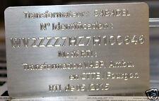 Gravure de Plaque personnalisée sur aluminium, série type constructeur