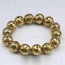 Old Tibet Brass Gold-plated Hand Weave Hollow small ball Bracelet