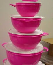 Tupperware Thatsa Mixing Bowls 4-Piece Set in Electric Pink w/White Seals - NEW!