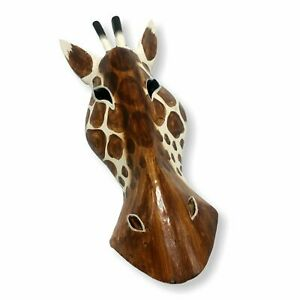 African Wooden White Giraffe Mask Hand Carved Safari Jungle Wall Hanging 12 inch