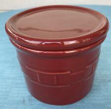 Longaberger Pottery Woven Traditions Paprika Red 1 Pint Salt Crock w/Coaster Lid