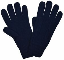 Brooks Brothers Women's Cable-knit Merino Wool Gloves, Navy, Size L/XL, 8182-6