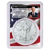 2021 $1 American Silver Eagle PCGS MS70 FDOI Biden 46th President Flag Frame