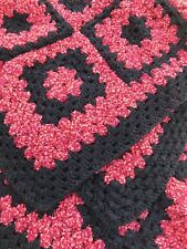Handmade Crochet Blanket, Red And Black, With Black Trim, Soft,