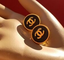 CLASSY Vintage Auth CHANEL FRANCE Gold BLACK CC COCO BUTTON EARRINGS Signed CLIP