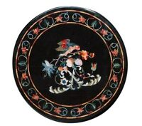 """24"""" Black Marble Coffee Round Table Top Marquetry Inlay Garden Home Decor H1633"""