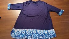 CJ Banks navy blue with blue and white trim blouse top women's 2X