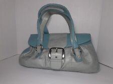 Adrienne Vittadini Purse Shoulder Handbag Pocketbook Blue Leather RARE Vintage