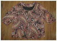 Women's 212 COLLECTION Brown Orange 3/4 Sleeve Blouse Shirt Top Size Large L B5