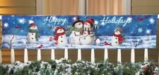 Lighted Happy Holidays Christmas Snowman Blue Banner Winter Outdoor Yard Decor
