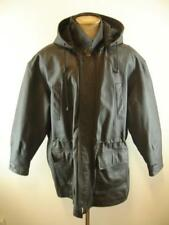 Mens L Airborne Leathers Black Leather Field Military Jacket Coat Hooded Parka