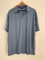 Masters Collection Men's Golf Polo Shirt XL Purple Blue Stripped Augusta Pima