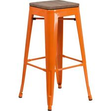 "Flash Furniture 30"" Backless Orange Metal Barstool - CH-31320-30-OR-WD-GG"